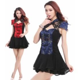 【2色】龍鳳柄 黒花柄 チャイナドレス セクシー レディース ワンピース  ドレス コスプレ コスチューム 衣装