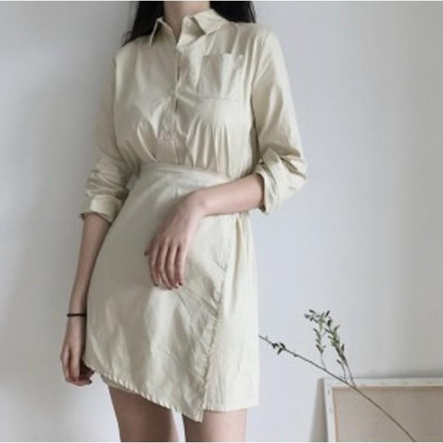 2カラー ラップ ミニ丈 ワンピース/ドレス
