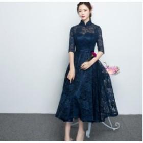 袖あり立ち襟ミモレドレス レースウェディングドレス 二次会 パーティドレス お呼ばれドレス 大きいサイズ 成人式ドレス