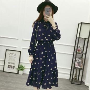 シフォン ドレス ワンピース ウエスト 花柄 #0258