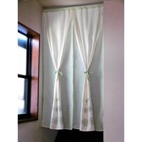 天然素材の綿100% ふんわりやわらか ナチュラルおしゃれな2重のれん 幅85×丈150cm (グリーン)