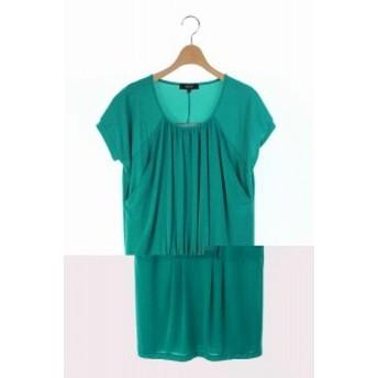 【中古】インディヴィ INDIVI GALLEST ワンピース ミニ 半袖 36 緑 /RM ■AC レディース