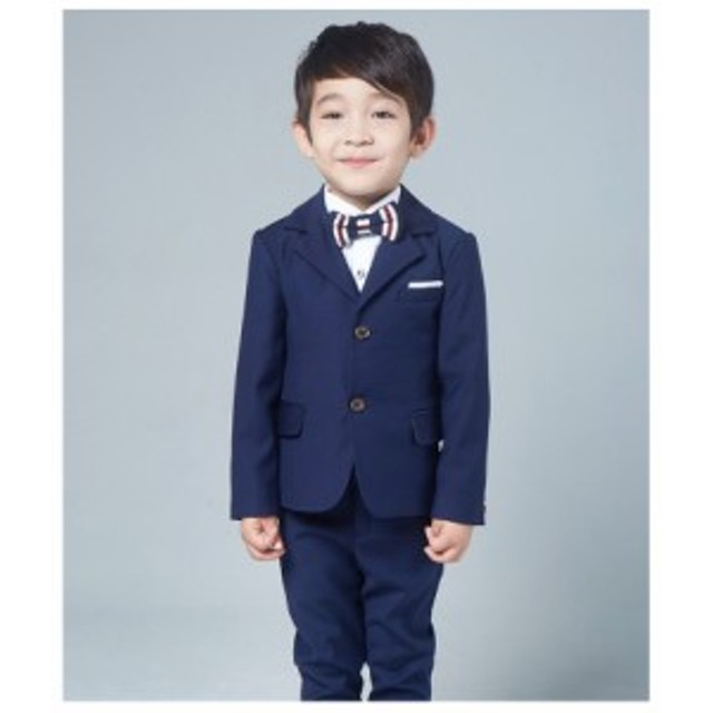 d34835bed1d3e1 スーツ男の子4点セットジャケット+シャツ+蝶ネクタイ+ズボン キッズ子供 ...