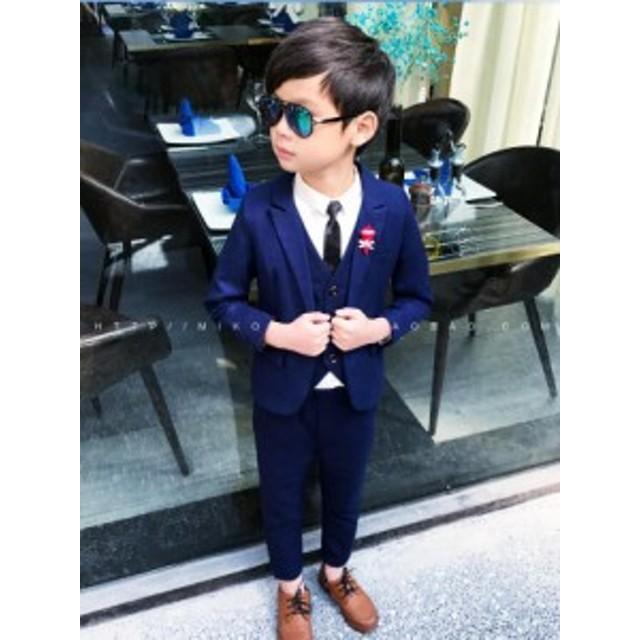 6fc8bbe9060a0 キッズ スーツ 男の子 ベビー 子供服 フォーマル スーツ 3点セット ジャケット ズボン ベスト 入学式