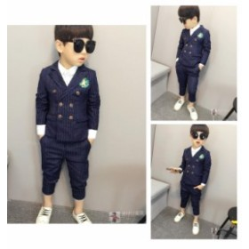 韓国服 子供スーツ2点セット タキシード 子供服 フォーマルスーツ キッズ ジュニア 男の子 紳士服 ストライプ 結婚式/七五三