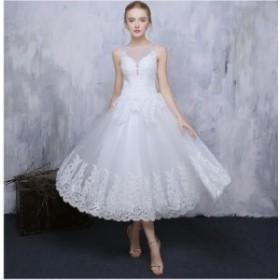 レース ファション Formal dress 素敵 パーティードレス 上品 フェミニン ミモレドレス フォーマルドレス 挙式 結婚式 花嫁 編み上げ