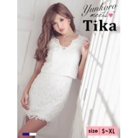 Tika (S/M/L/XL) 半袖総レースタイトミニドレス ネイビー 白  ドレス パーティドレス lサイズ  ドレス キャバ ドレス キャバクラ キャバ