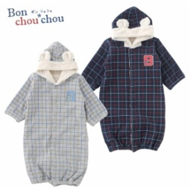 6b4e2890aee70 ベビー服 赤ちゃん 服 ベビー ツーウェイオール 男の子 出産祝い 新生児 ボンシュシュチェック柄クマ耳