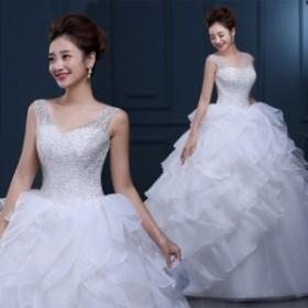 人気/Aライン フォーマル ブライズメイドドレス/パーティー結婚式二次会卒業式 高級なウエディングドレス 編み上げ