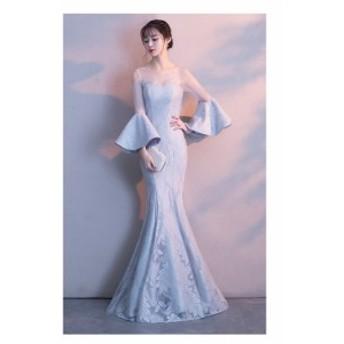 マーメイドライン 五分袖 パーティードレス フェミニン 優雅フォーマル お呼ばれドレス Formal dress 袖あり 宴会 二次会 編み上げ