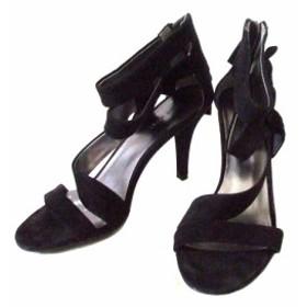 136b6b98d5 Nine West ナインウエスト スエードレザーヒールサンダル (黒 シューズ 皮 革 靴 日本製