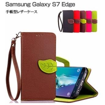 GALAXY S7 Edgeケース/カバー 手帳 レザー カバー カード収納付き 手帳型ケース/カバー スマフォ スマホ スマートフォンケース/カバー