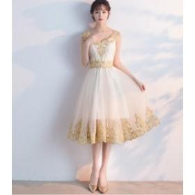 二次会 演奏会 エレガント チュールスカート ワンピースパーティードレス  結婚式ウェディングドレス  披露宴  花嫁
