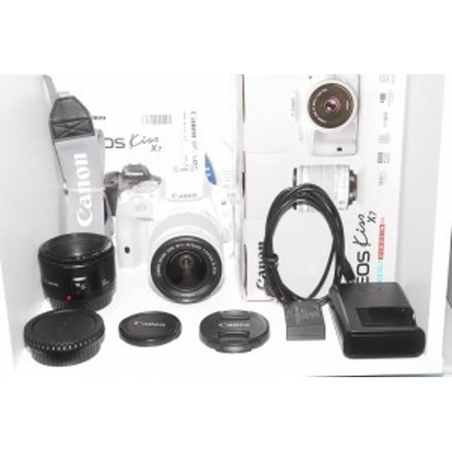 【中古 保証付 送料無料】Canon  EOS Kiss X7 レンズキット EF-S18-55mm F3.5-5.6 IS STM+EF50 F1.8II型 Wレンズセット