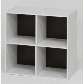 北欧風 カラーボックス/収納棚 [2段 4マス ブラウン] 正方形 幅60cm 『ユニットKDボックス ワイアード』