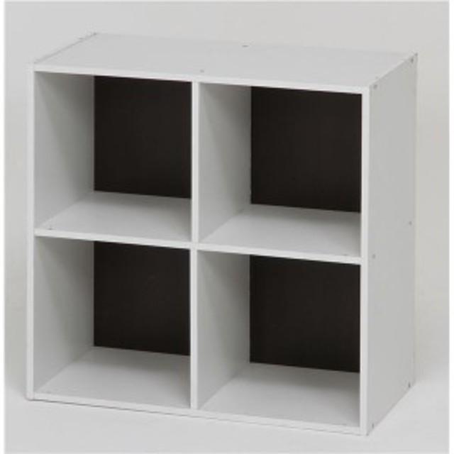 還元祭 最大1,000円OFFクーポン利用可 北欧風 カラーボックス/収納棚 [2段 4マス ブラウン] 正方形 幅60cm 『ユニットKDボックス ワイア