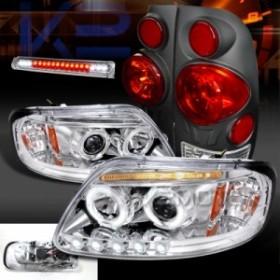 テールライト 97-03 F150クロームハロープロジェクターヘッドライト LED第3ブレーキブラック3Dテールライト 97-