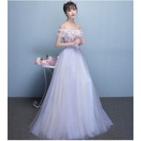プリント イブニング パーティー セクシー フォーマルブライズメイドドレス/結婚式二次会卒業式 花嫁の介添え着痩せ20代オフショルダー