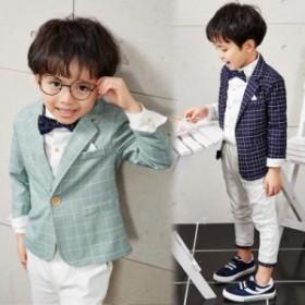 チェック柄 子供スーツ 3点セット ジャケット ズボン シャツ フォーマル キッズ 男の子 入学式 卒業式  結婚式 およばれ 七五三