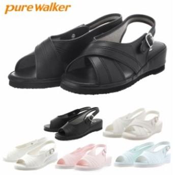 ナースサンダル ピュアウォーカー Pure Walker ナースシューズ 黒 ダイマツ 事務 定番 シンプル ベーシック ゆったり
