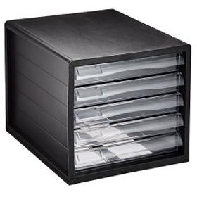 ナカバヤシ A4レターケース 書類ケース 小物整理収納 5段 ブラック A4E-05B
