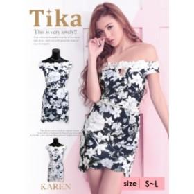 Tika ティカ (S/M/L) 3Dフラワーレースデザインオフショルタイトミニドレス ピンク ネイビー  ドレス キャバ ドレス キャバクラ キャバド