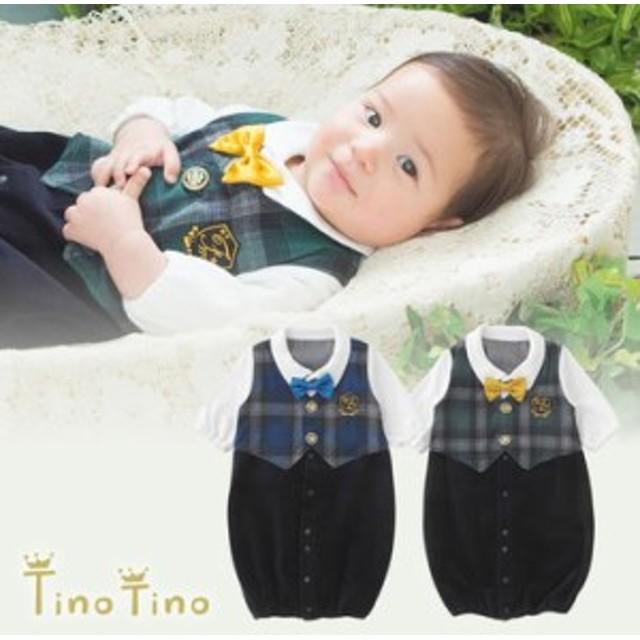 3e33ee29a8c2d ベビー服 赤ちゃん 服 ベビー ツーウェイオール 男の子 結婚式 ティノティノ見せかけベストフォーマル新生児ツーウェイオール