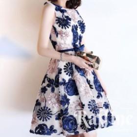 刺繍 花柄 ノースリーブ ミニ丈フレアースカート ワンピース 結婚式 二次会 パーティー RF0810