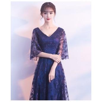 イブニングドレス パーティードレス 結婚式 ドレス 二次会 発表会 Vネックワンピース 高品質 ロングドレス