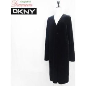 ワンピース古着 DKNY ダナキャラン 黒 ブラック シンプル 無地 ベロア 前開き ボタン Vネック 長袖 ワンピ(カーディガン) 羽織りにも◎