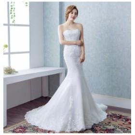 高品質 マーメイドライン ウェディングドレス トレーン ビスチェ  S~XXXL 結婚式 披露宴 お得ベール グローブ2点セット付 H033
