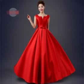 タンクトッス イブニングドレス フォーマルウエア ロングドレス パーティドレス ウエディングドレス 結婚式 演奏会 宴会 発表会 レッド