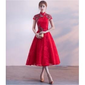 新品☆ミニ・ドレス 刺繍レースワンピース 結婚式ドレス二次会 フォーマル  パーティードレス 披露宴お呼ばれ ウェディングドレス