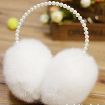 【即納】 あったか 可愛い!真珠飾り★ふわふわ フェイクファー★ 防寒 イヤーマフラー 耳あて♪