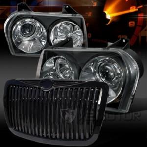 05-10 Chrysler 300C Black LED Projector Headlights+Chrome Hood Grille