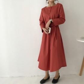3カラー 前ボタン ワンピース/ドレス