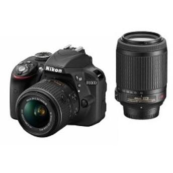 Nikon デジタル一眼レフカメラ D3300 ダブルズームキット ブラック D3300WZBK 中古 良品