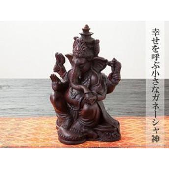 幸せを呼ぶ小さな ガネーシャ神 卓上木製オブジェ/ガネーシャ トゥア