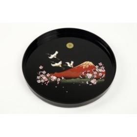 尺丸盆 黒 富士山に鶴と桜30cmの丸盆です叙勲 菊紋 内祝 記念品 褒章 祝い返し ギフト 漆器 日本 贈り物
