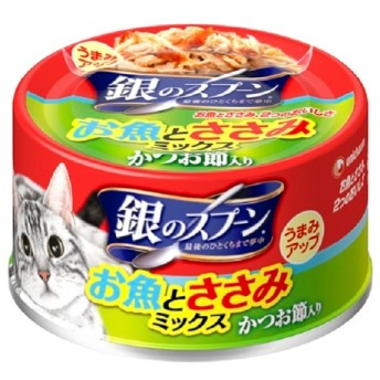 ユニ・チャーム 銀のスプーン 缶お魚とささみミックスかつお節入り70g