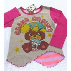 グラグラ GRAND GROUND 長袖Tシャツ ロンt 130cm 新品 グレー/ピンク系 トップス 女の子 キッズ 子供服 通販 買い取り