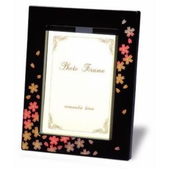 フォトフレーム 黒 桜12.5cm×16.5cm×2cmの写真立です内祝 新築祝 祝い返し ギフト 漆器 日本 贈り物 23-75-7