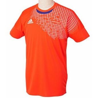 (アディダス)ADIDAS freefootball グラフィックSALシャツ半袖 JKS53 S09007 ソーラーレッド J/L