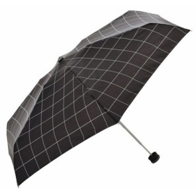 HUS. スマートデュオ 晴雨兼用折りたたみ傘 54527 ウィンドウペインブラック