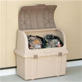 大容量ゴミ箱収納庫/分別ストッカー 【屋外用 220L】 フタ:片手開閉可 ベージュ 日本製