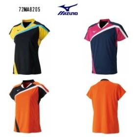 ミズノ バドミントン レディ―スゲームシャツ 72MA8205 ブラック ドレスネイビー フレイムオレンジ S~XL