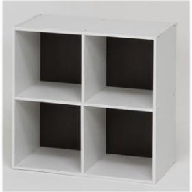 北欧風 カラーボックス/収納棚 【2段 4マス ブラウン】 正方形 幅60cm 『ユニットKDボックス ワイアード』【代引不可】