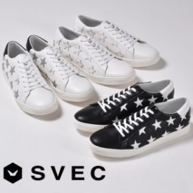 スニーカー メンズ ローカット カジュアルシューズ SVEC シュベック SPS572-5 ブラック 黒 ホワイト 白 ホワイトシルバー 銀 星 スター