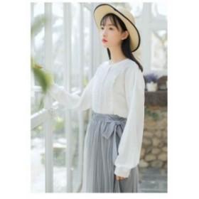 【2018春夏New Item】サイドりぼんプリーツシフォンミディアムスカート