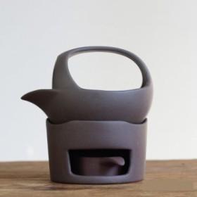 茶香炉 急須型 素焼き 陶磁器 シンプル (ブラウン)